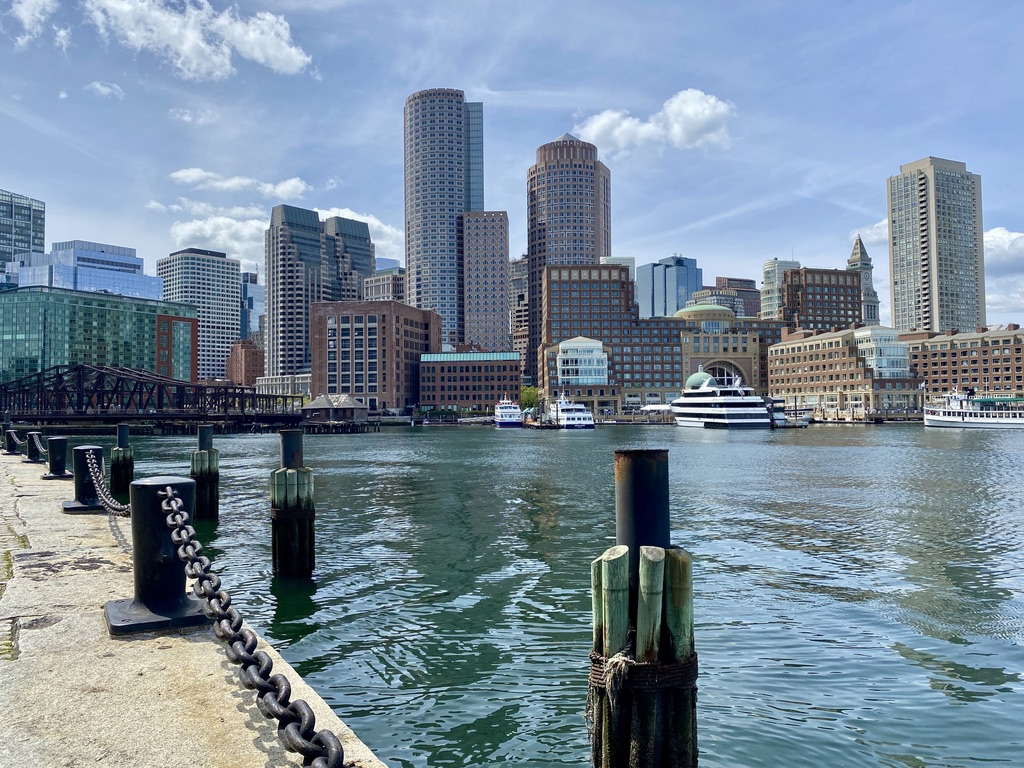 View of Boston from the Harborwalk in the Seaport