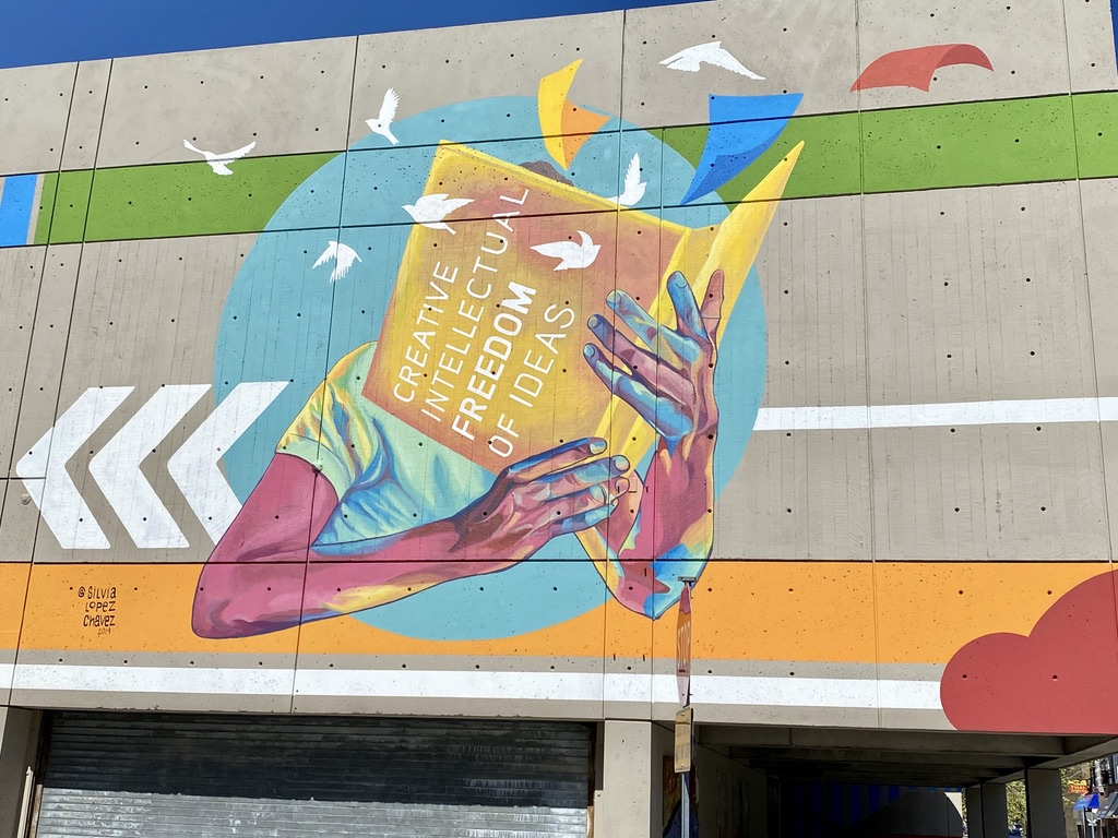 Mural at Cambridge Public Library on Pearl Street