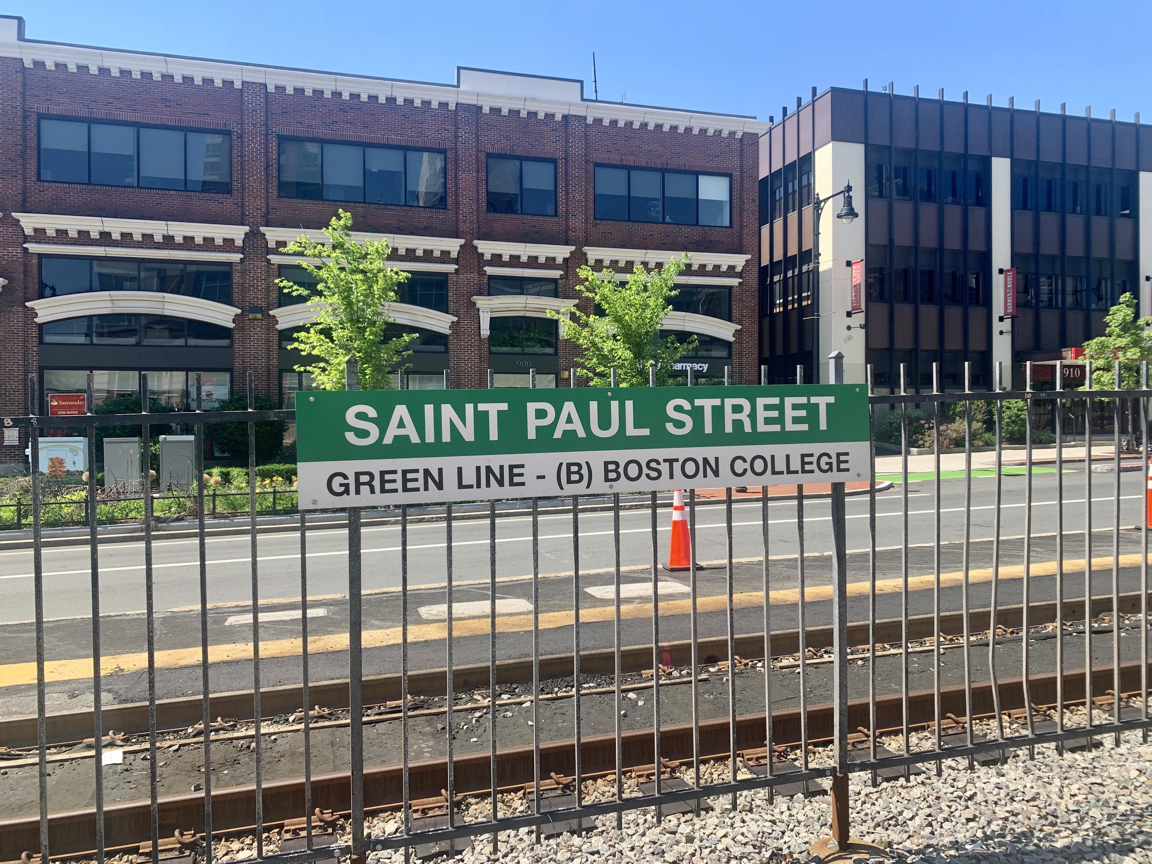 Saint Paul Street Green Line on Comm Ave near BU