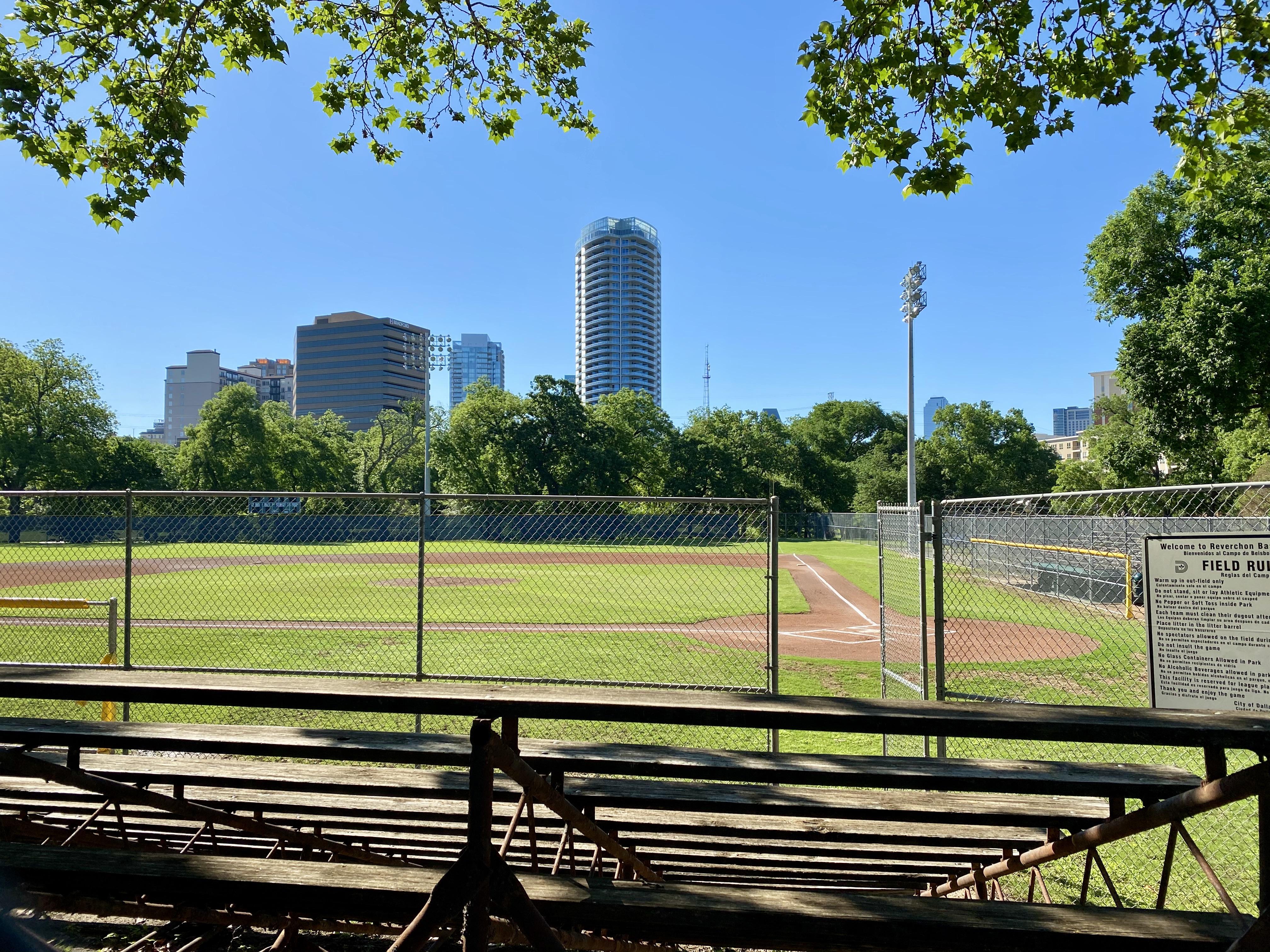Reverchon Park Baseball Diamond in Uptown Dallas, TX